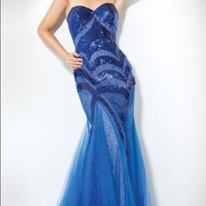 Blue sequin Jovani mermaid gown